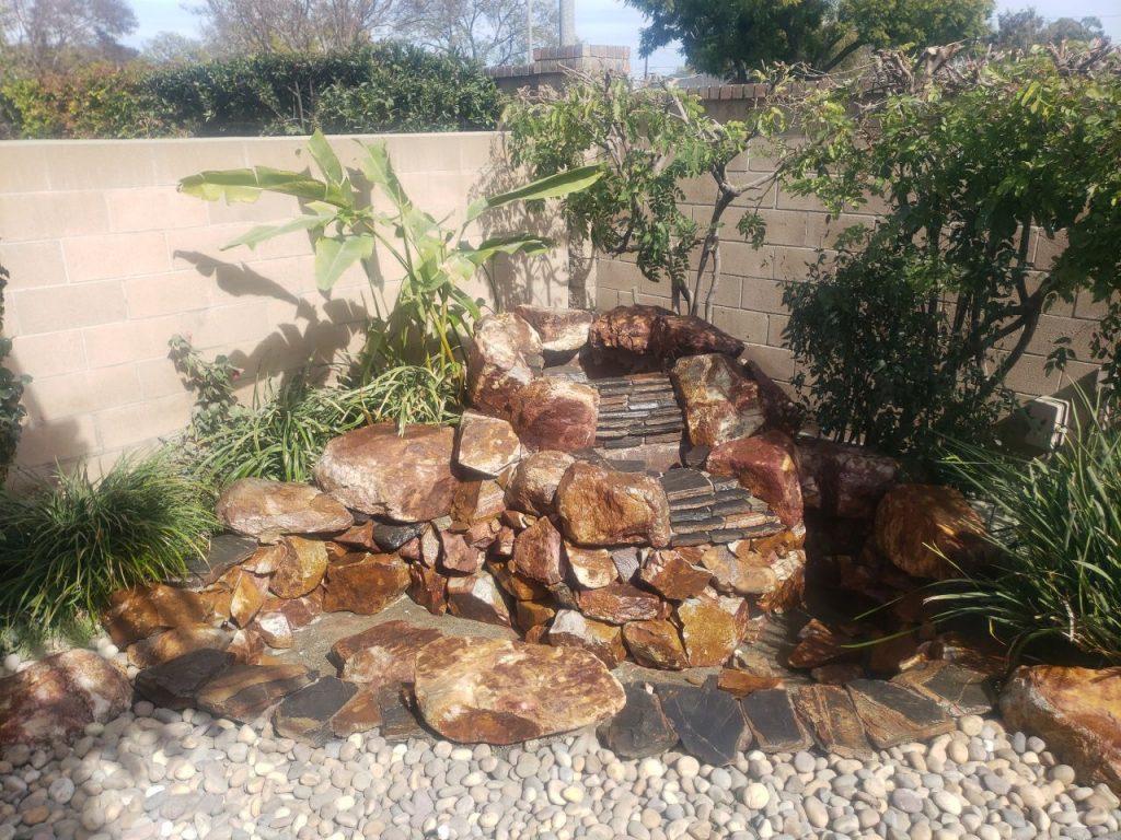 After sandblasting a stone pond.